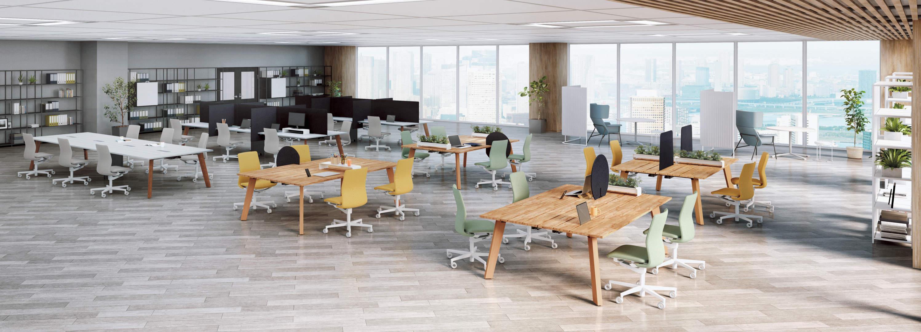 ニュアンスカラーのオフィス家具