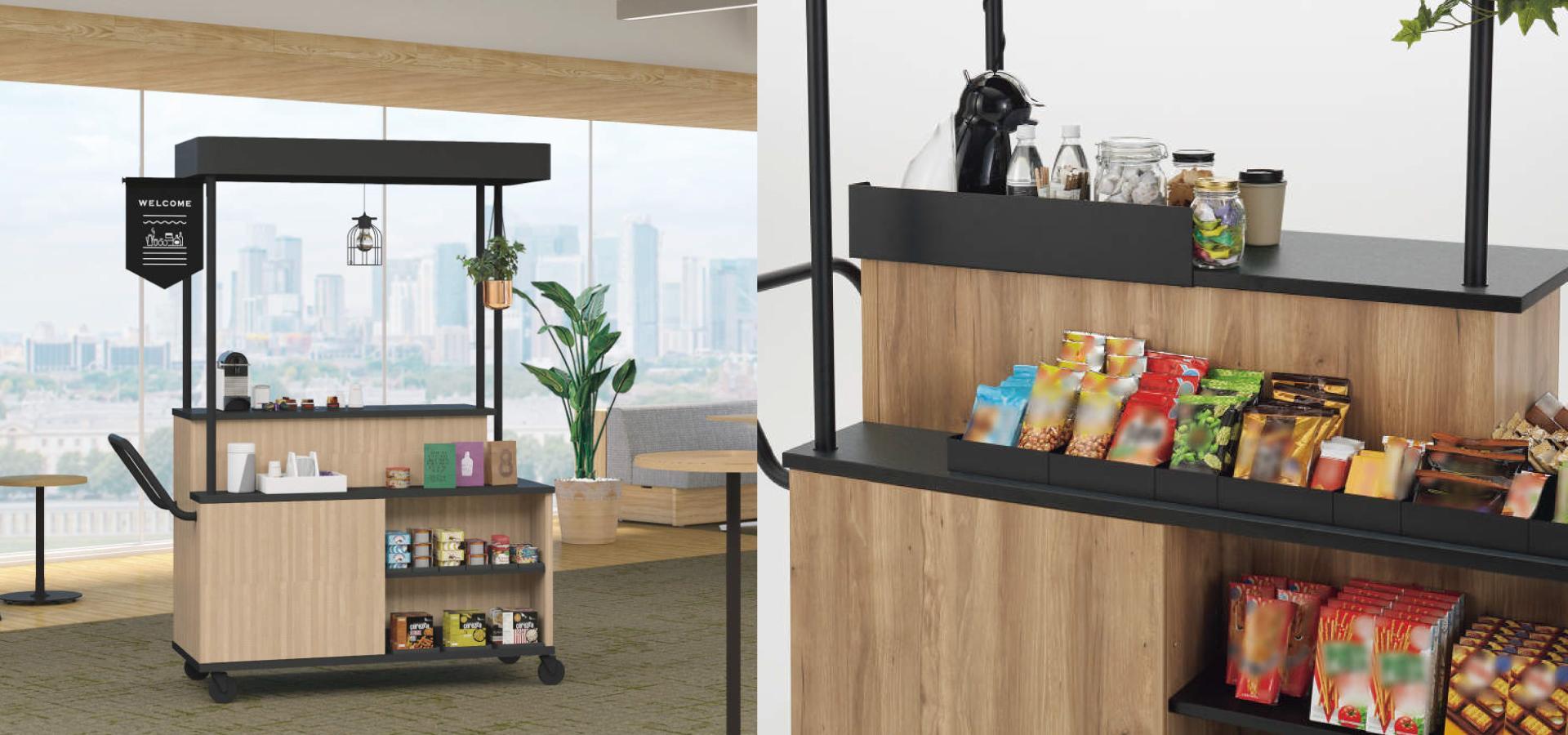 コンパクトなオフィスのカフェコーナー